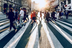 people walking down the street- how to set goals for life