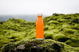 a orange bottle outside